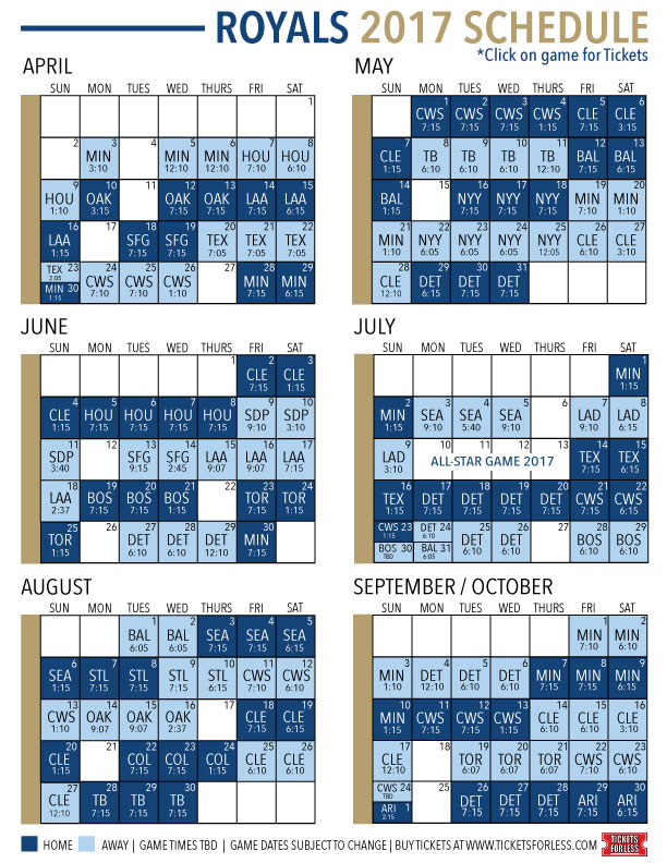 graphic about Kc Royals Schedule Printable titled Kansas Metropolis Royals 2017 Routine Royals Tickets For Much less