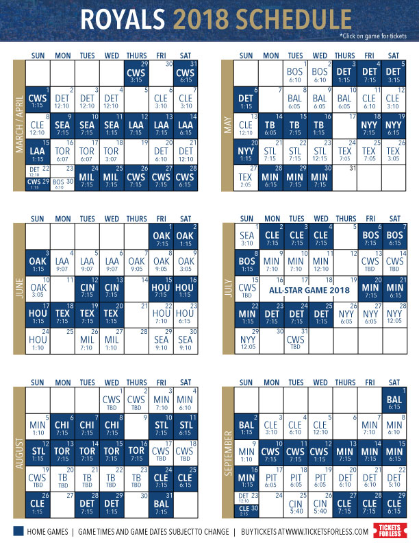 photo regarding Kc Royals Schedule Printable known as Royals-2018-Printable-Timetable-w-inbound links Royals Tickets For Considerably less